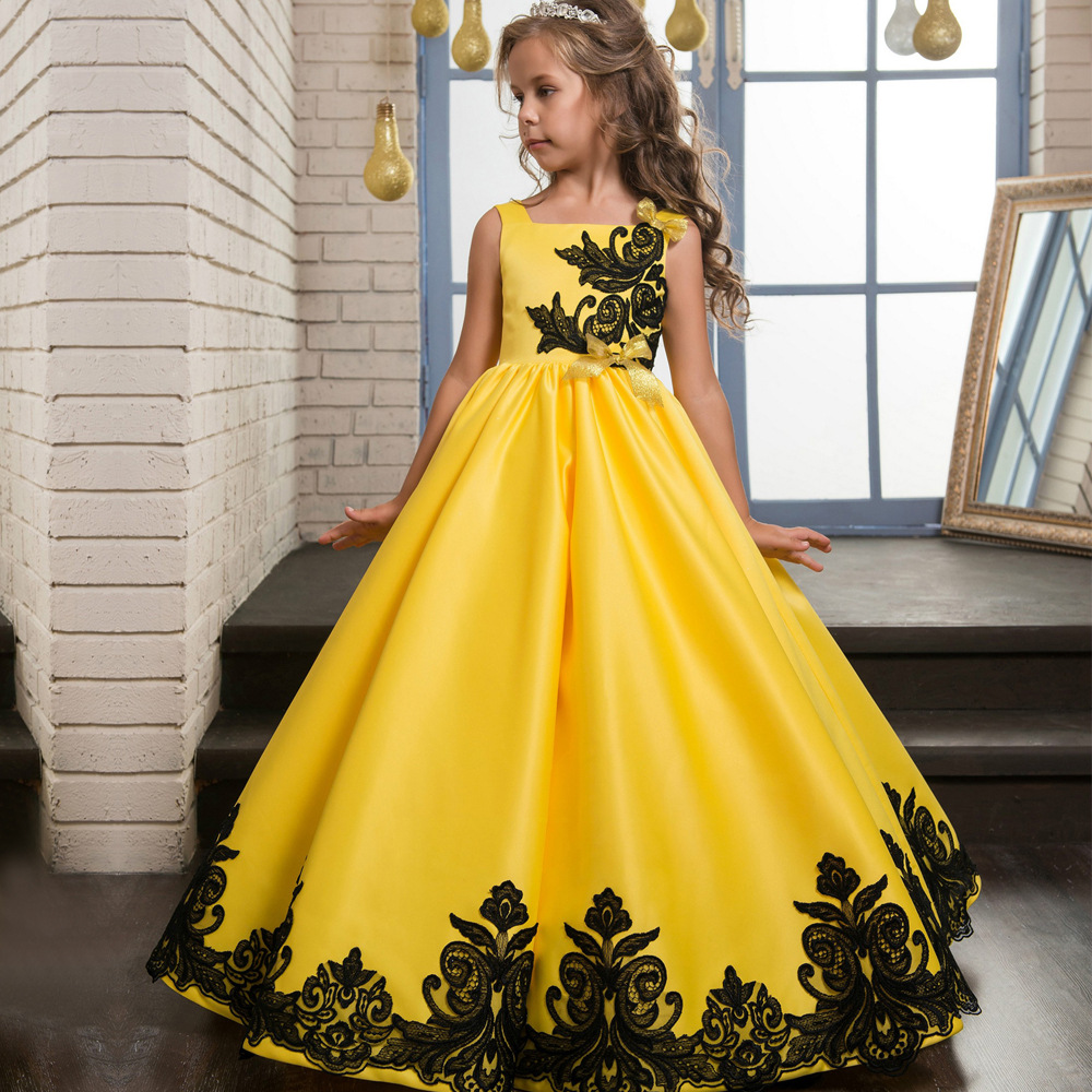 Cheap Yellow Satin Wedding Flower Girls Dresses, Pricess Flower ...