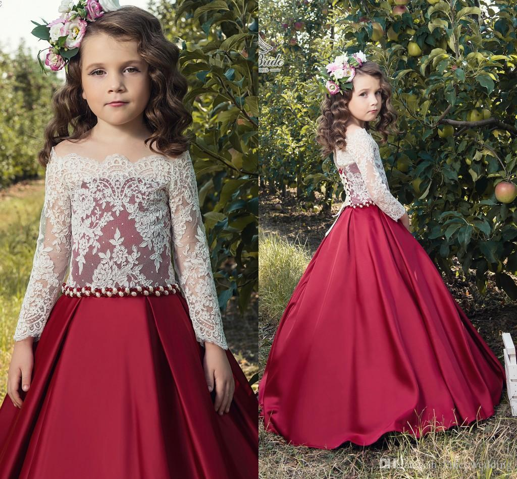 Flower Girl Dresses Lace Long Sleeves Satin Vintage Girls Pageant ...