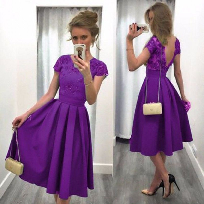 Short Purple Satin Prom Evening Dresses Lace Formal Party Bridal ...