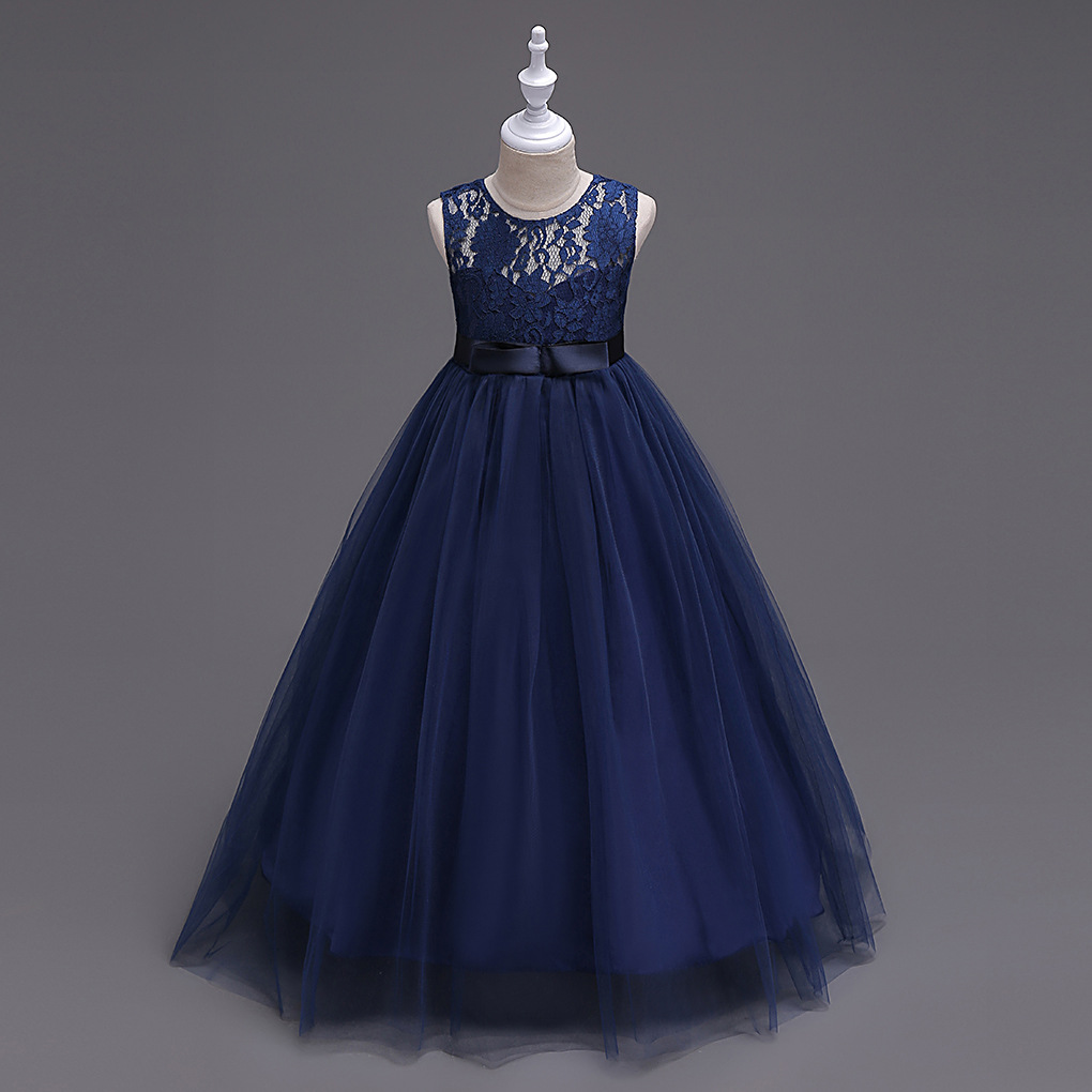 New Arrival Navy Blue Lace Flower Girls Dresses, Cheap Girls Gowns ...