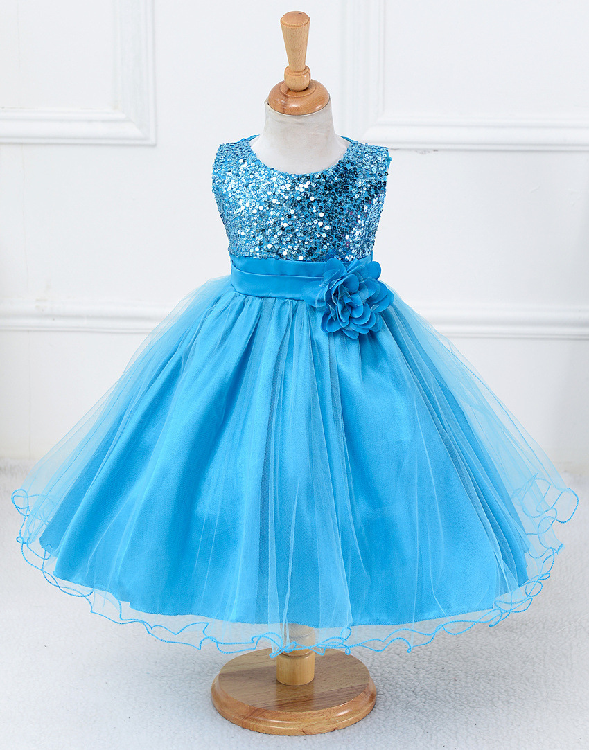 Blue Sequined Corset Short Flower Girls Dresses , New Arrival Girls ...