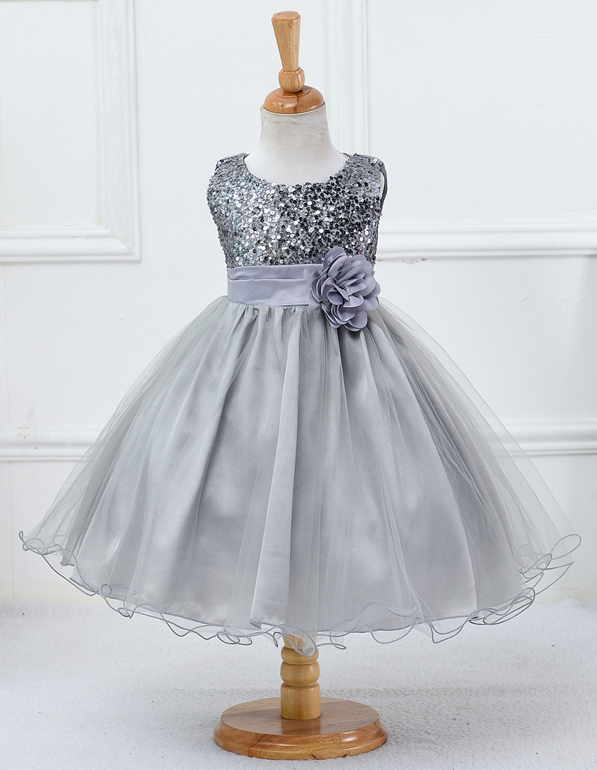 Silver Sequined Corset Short Flower Girls Dresses  6a2743ee49de