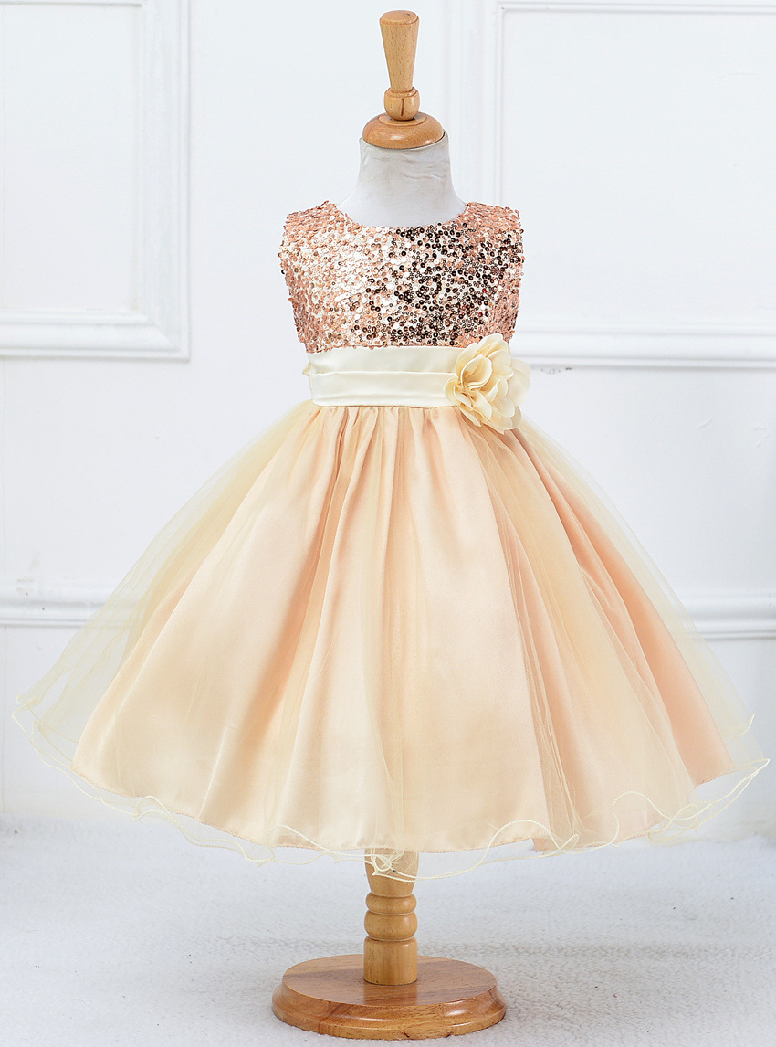3e35a7927ee4 Gold Sequined Corset Short Flower Girls Dresses