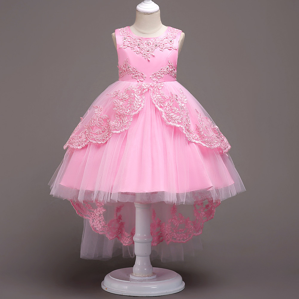 New Arrival Pink Lace Flower Girls Dresses High Low Party Girls