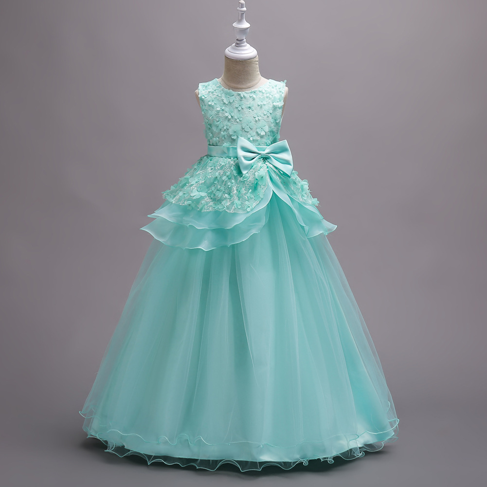 New Arrival White Lace Flower Girls Dresses Green Party Girls Gowns ...