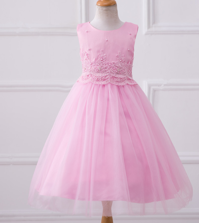 Pink Flower Girls Dresses Lace Wedding Flower Gowns A Line