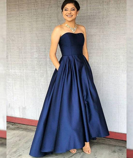 6fc4b74268c Dark Blue Strapless High Low Satin Party Dress