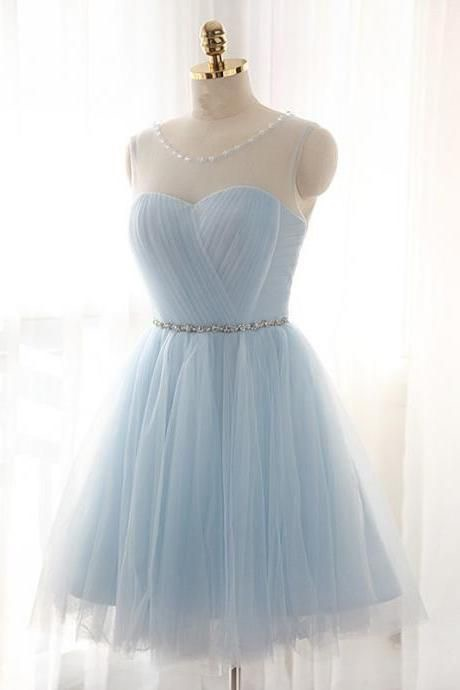 Light Blue Homecoming Dresses with Crystals ,Short Homecoming Gowns ,Blue Party Gowns ,Sheer Scoop Mini Prom Gowns , Short Bridesmaid Gowns , A Line Prom Gowns .