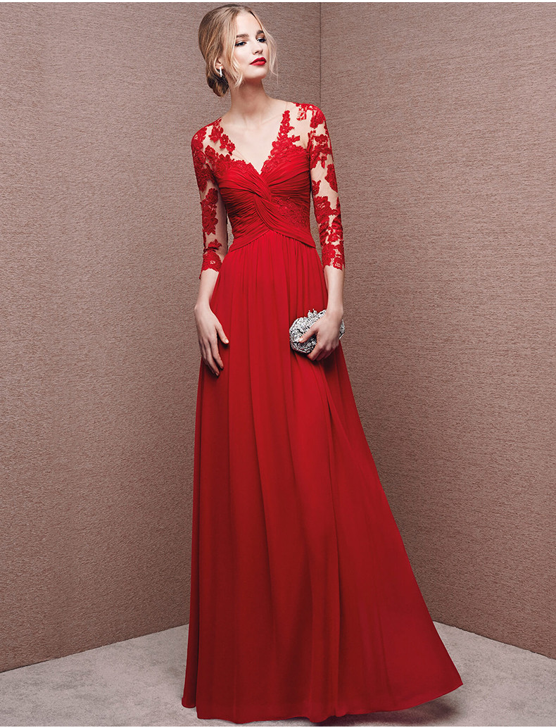 Red Lace Evening Dress,Red Pleated Evening Dress, Long Sleeve Prom ...