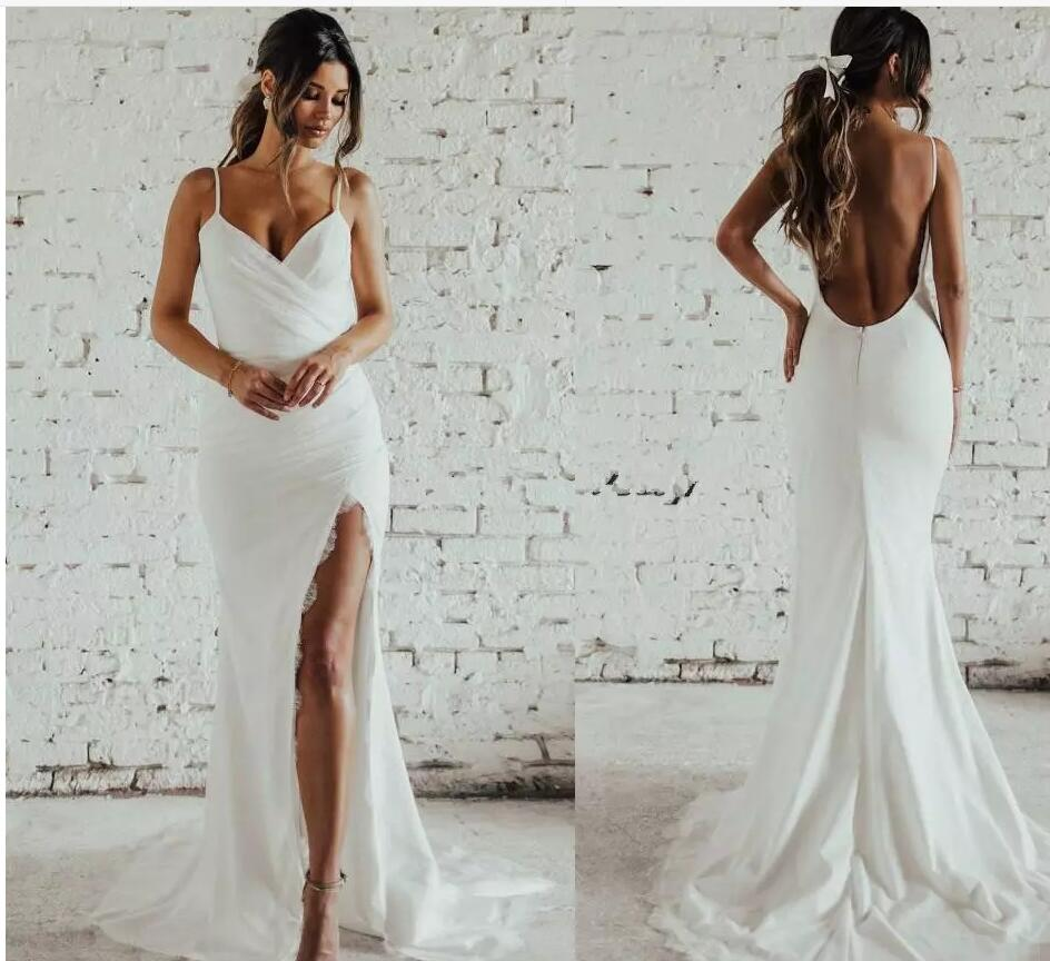509d724e8d7 Simple Desigin Katie May Beach Mermaid Wedding Dresses with Slit Full Lace  Spaghetti Backless Holiday Garden Bridal Dress Cheap