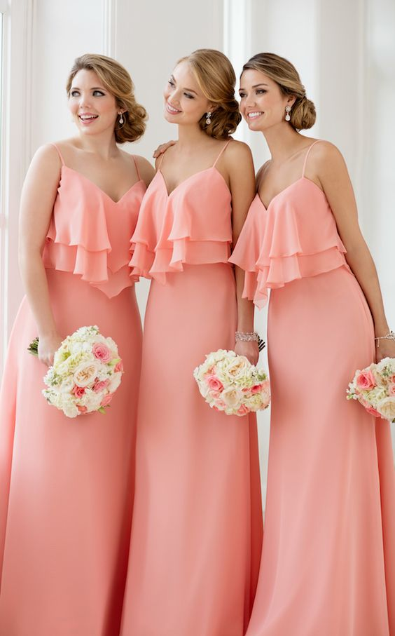 New Arrival Coral Chiffon Long Bridesmaid Dress Plus Size Women