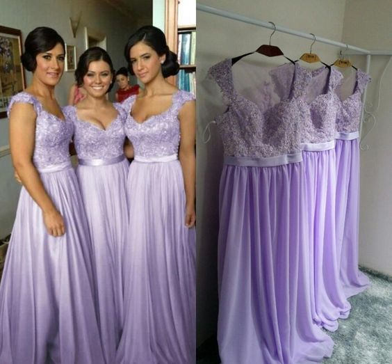 127300b3cc Lavender Chiffon Bridesmaid Dress Floor Length Wedding Guest Gowns Long  Party Gowns