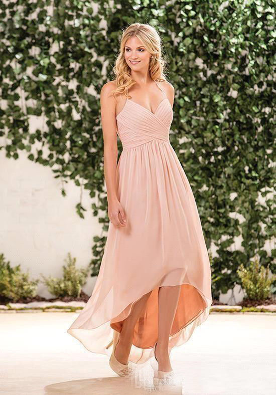 New Arrival Light Pink High Low Homecomong Dress Spaghetti Straps Prom Gowns Chiffon Pleated Cocktail Dress, Off Shoulder Women Party Gowns .
