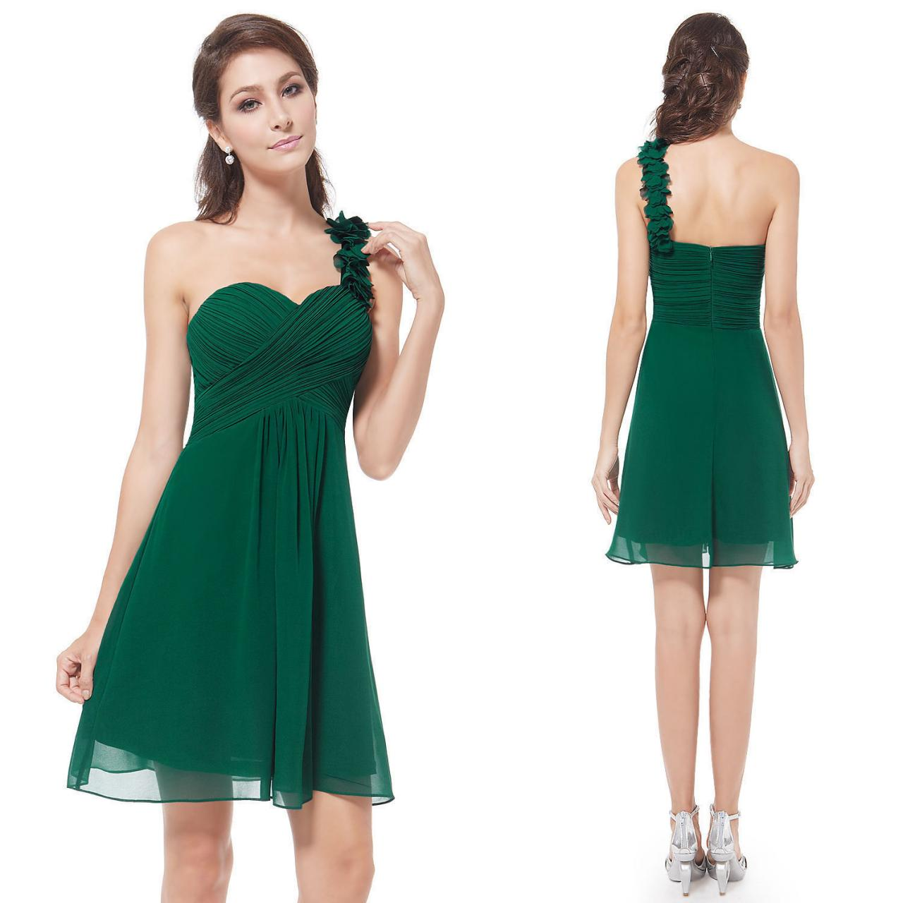 One Shoulder Green Chiffon Girls Homecoming Dresses Simple Party Gowns Knee-Length Cocktail Gowns Summer Gowns ,Women Party Gowns