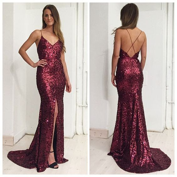 Sequin Long Prom Dresses with Straps