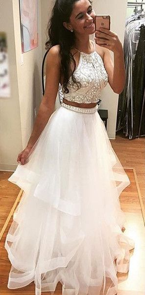 White Tulle Two Pieces Prom Dresses Beaded Long Prom Dressformal