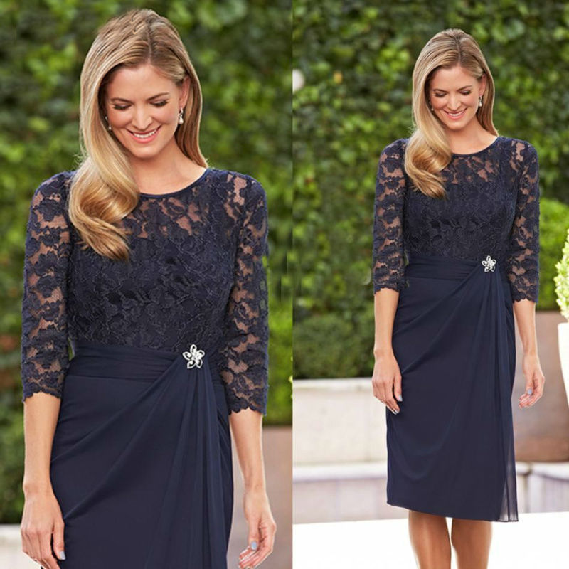 Navy Blue Half Sleeve Lace Mother Of The Bride Dress, Short Mother Dress, Women Formal Dress, Knee-Length Mother Gowns