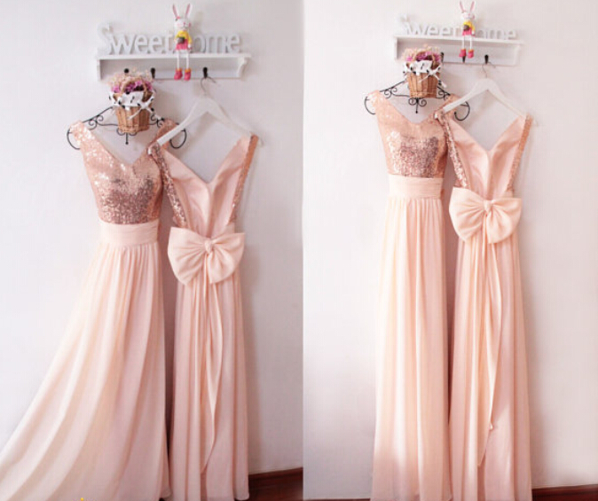 50fae5cb9a7 Rose Gold Long Bridesmaid Dress