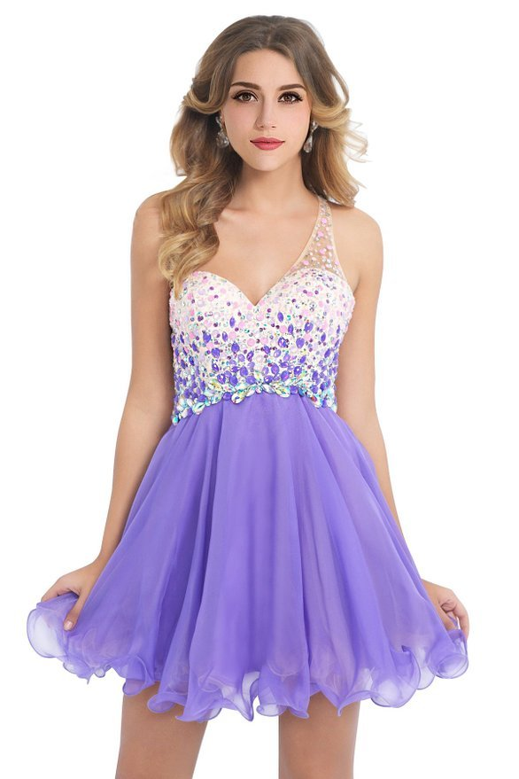 One Shoulder Purple Beaded Short Homecoming Dress,Chiffon Party ...