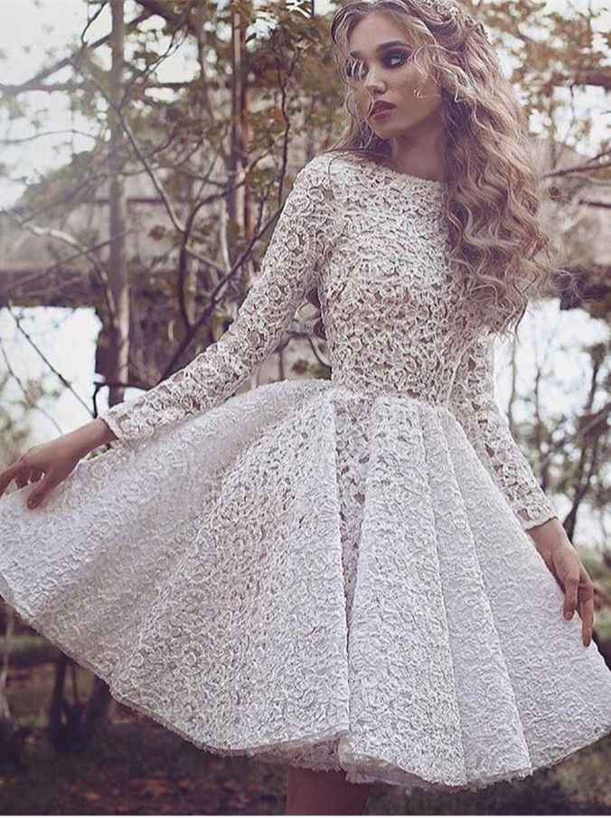 ca3fb7b23c8 White Lace Scoop Short Homecoming Dresses