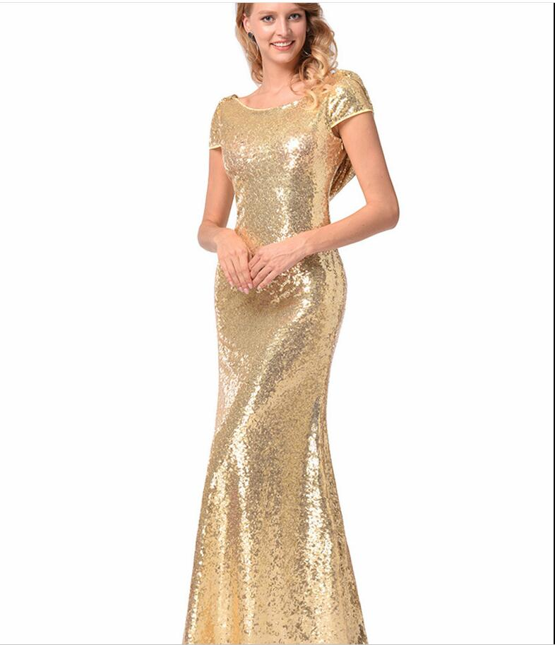 Gold Sequins Bridesmaid Dress Mermaid Plus Size Prom Party Gowns ...