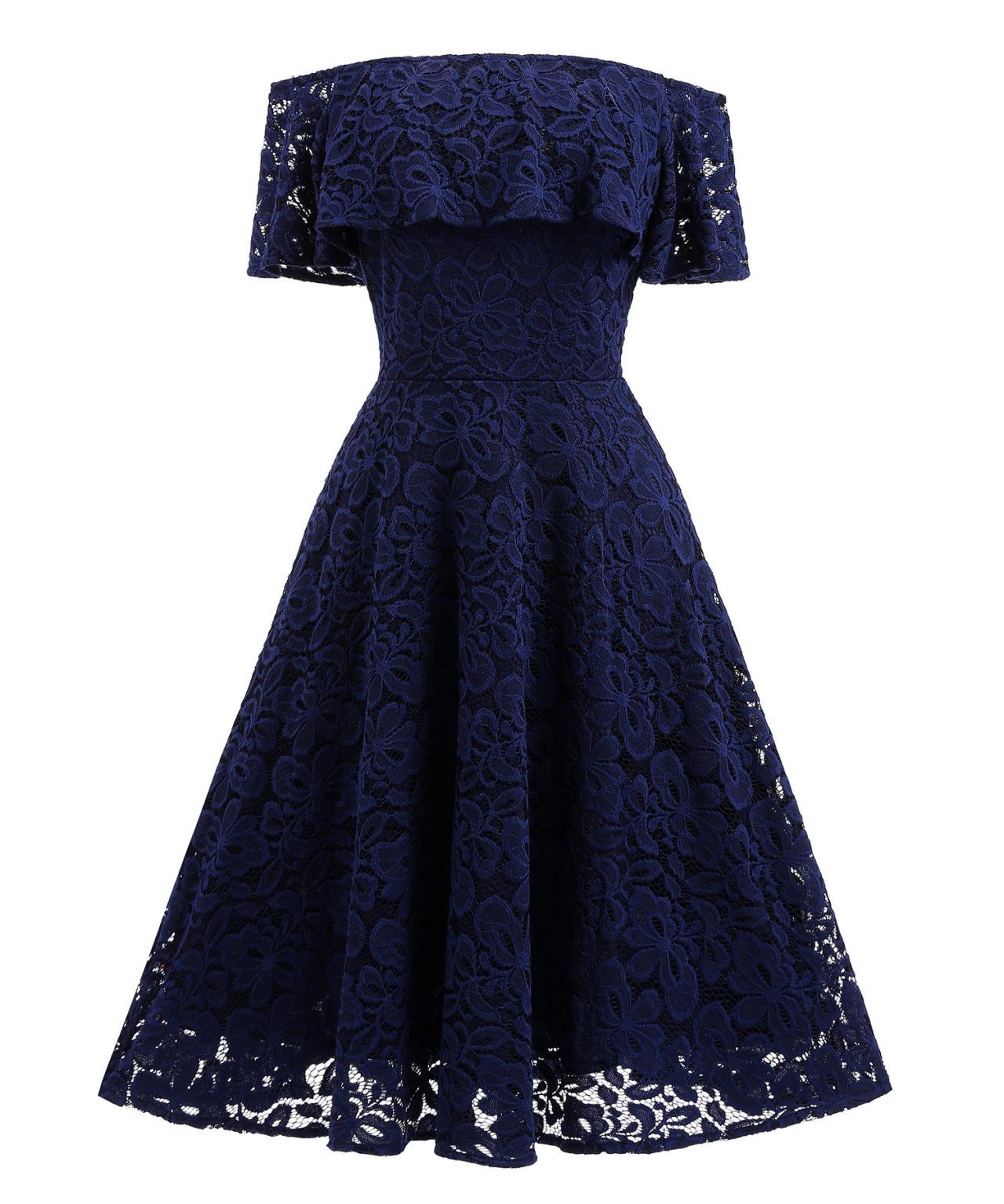 2c85240c8719 Navy Blue Short Soft Lace Prom Dress Off Shoulder Women Party Gowns ...