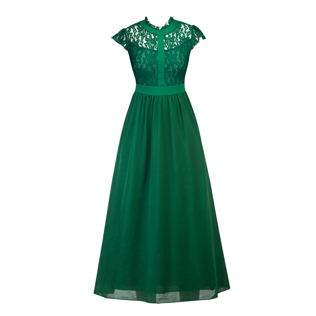 Green Lace Long Prom Dress Cheap Chiffon Wedding Evening Gowns High Neck Formal Prom Gowns ,Wedding Prom Gowns ,Plus Size Green Party Gowns