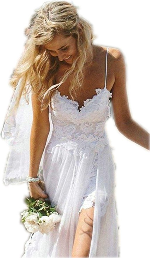 Spaghetti Straps Lace Bohemian Wedding Dress Backless,Beach Wedding Dress  ,White Boho Bridal Gowns Plus Size , Bridal Dress White