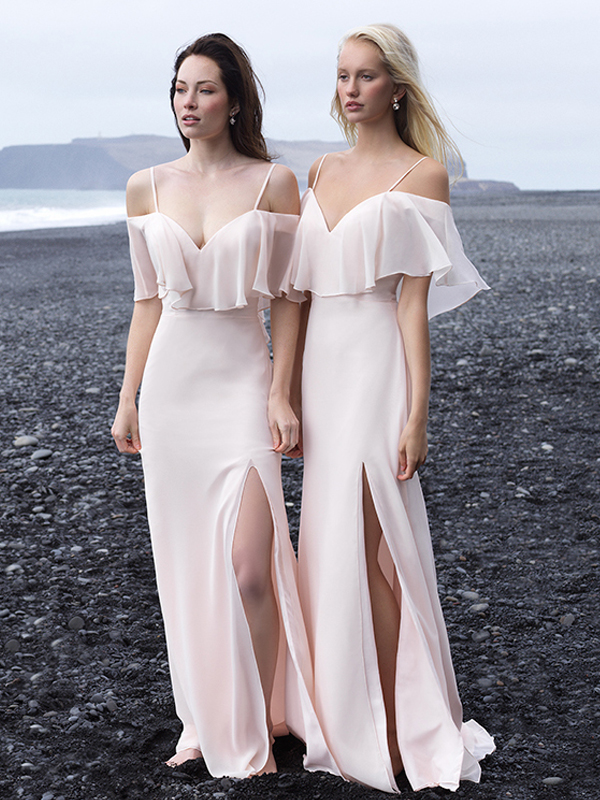 6c67421daa New Arrival Light Pink Chiffon Long Bridesmaid Dresses Off Shoulder Party  Gowns Short Sleeve Women Beach Dresses