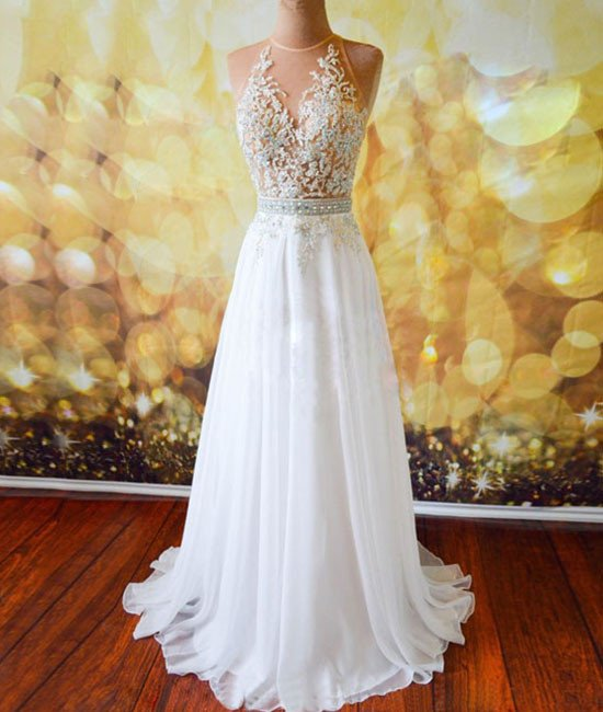 Sexy Back Open Sheer Scoop Neck White Chiffon Prom Dresses A Line Party Dress, Lace Prom Gowns .Wedding Summer Gowns