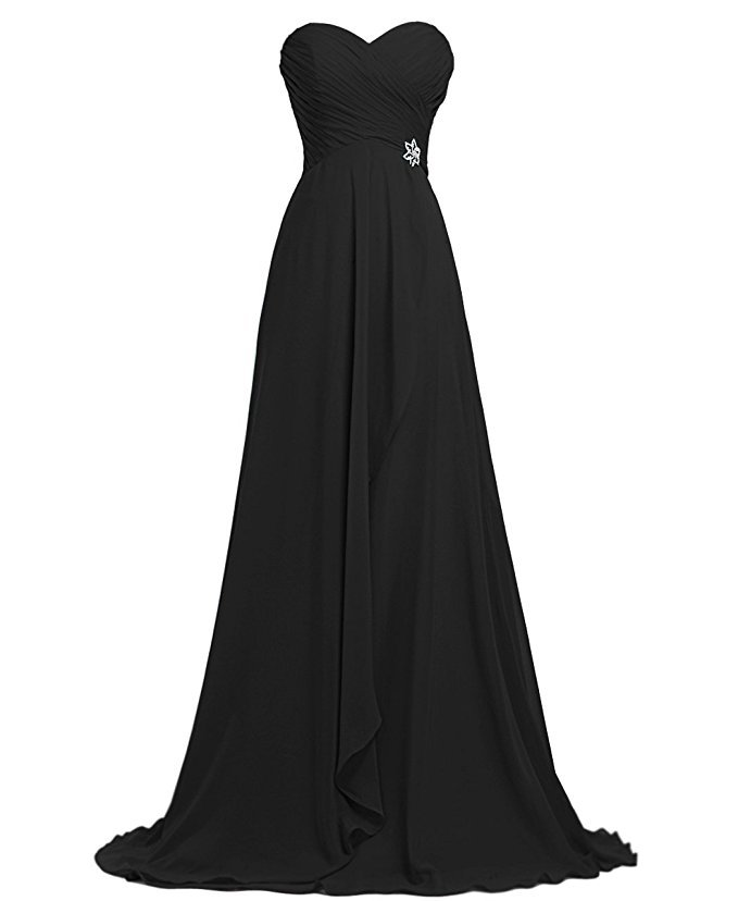 Black chiffon Long Bridesmaid Party Dress, Simple Formal Prom Dress, Custom Made Black Party Gowns