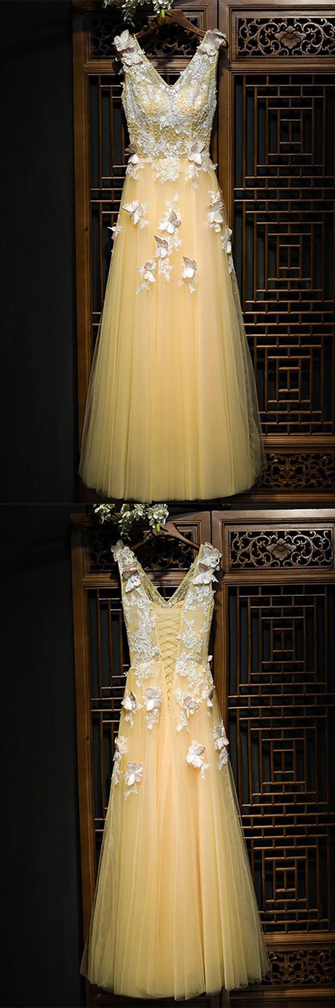 Plus Size Yellow Tulle Long Prom Dresses 2018 A Line Beaded Fashion Evening Party Gowns
