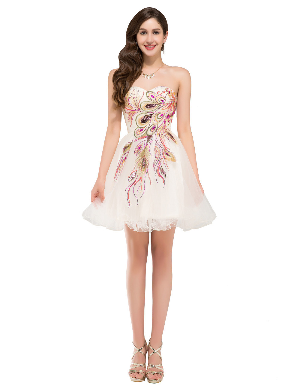 Off Shoulder Tule Short Homecoming Dress With Embridery Peacoclk Mini Cocktail Gowns , Homecoming Gowns