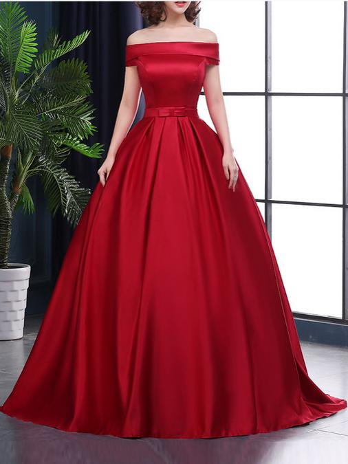 06017f2380b Elegant Red Satin Ball Gown Prom Dresses Puffy Women Prom Gowns Sash Women  Evening Party Gowns