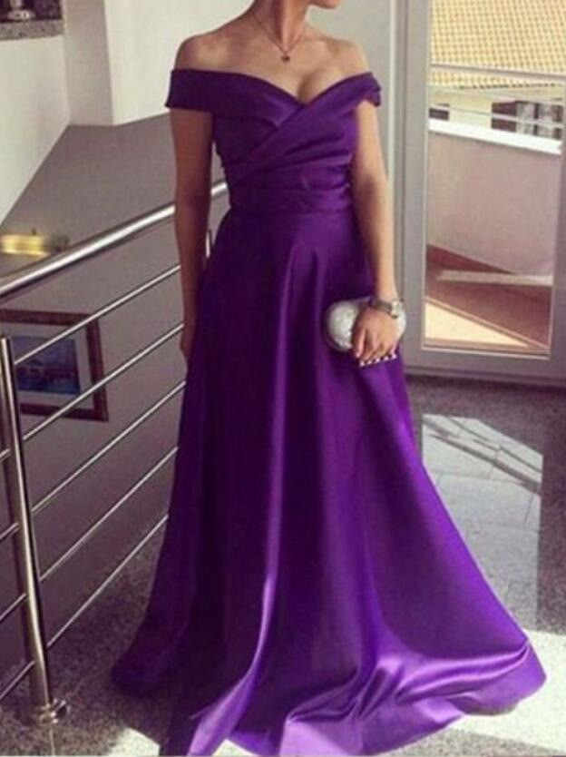 Purple Satin Formal Evening Dress, A Line Women Prom Dress,Plus Size ...