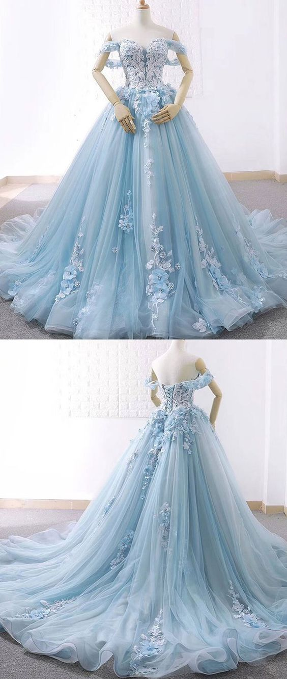 New Arrival Light Blue Tulle Ball Gown