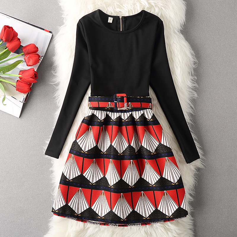 Fashion Women Autumn Winter Long Skirts, Long Sleeve Women Dress, Autumn Bottons Cover Dresss, Long Printed Gowns ,o-Neck Print Dress