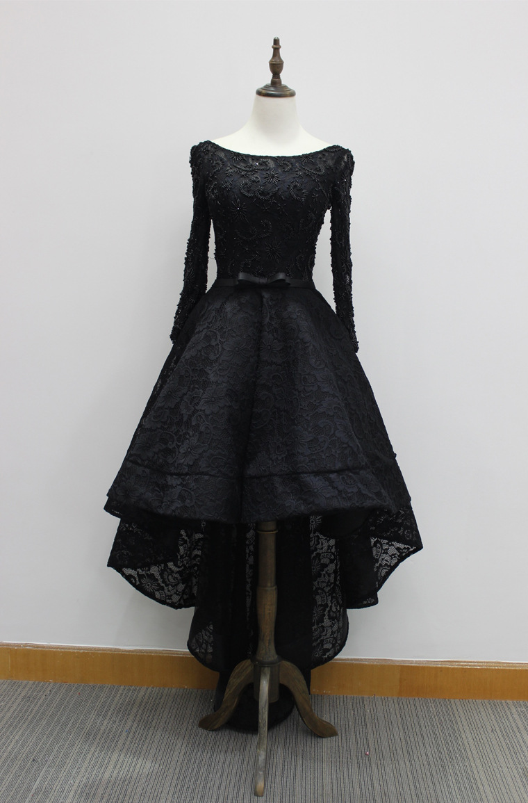 Vintage Black Lace High Low Prom Dresses A Line Beaded Homecoming Dress A  Line Prom Gowns Plus Size Wedding Party Gowns