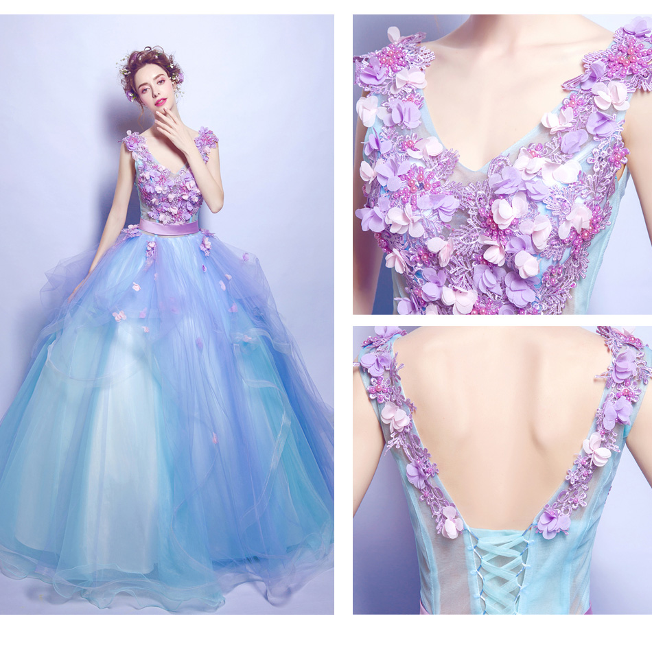 ecb5db3e6b8d4 Elegant Sky Blue Long Prom Dress With Lavender Flowers ,Fashion Ball Gown  Prom Dresses, V-Neck Formal Evening Party Dress.