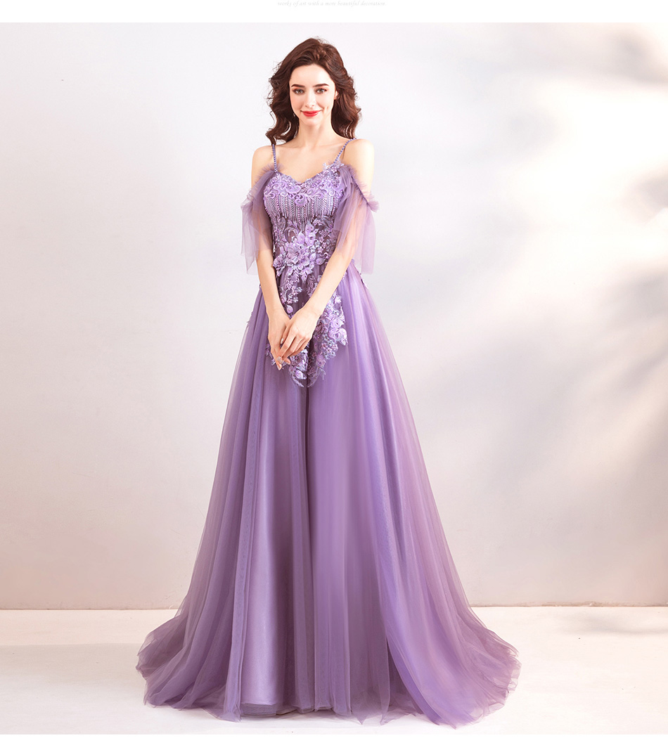 511f3b2f4 Spaghetti Strap Lavender Tulle Long Prom Dress A Line Embroidery Beaded  Formal Evening Dress Floor Length