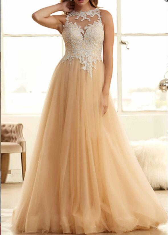 Fashion Champagne Tulle Prom Dress Lace Appliqued O-Neck Formal Evening Dress, Long Prom Gowns Custom Made