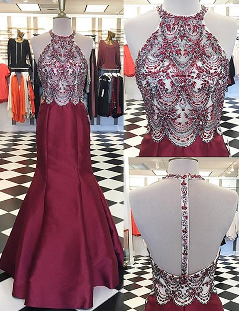 Luxury Beaded Crystal Burgundy Satin Mermaid Prom Dress , Sexy Long Prom Gowns ,Formal Evening Party Gowns