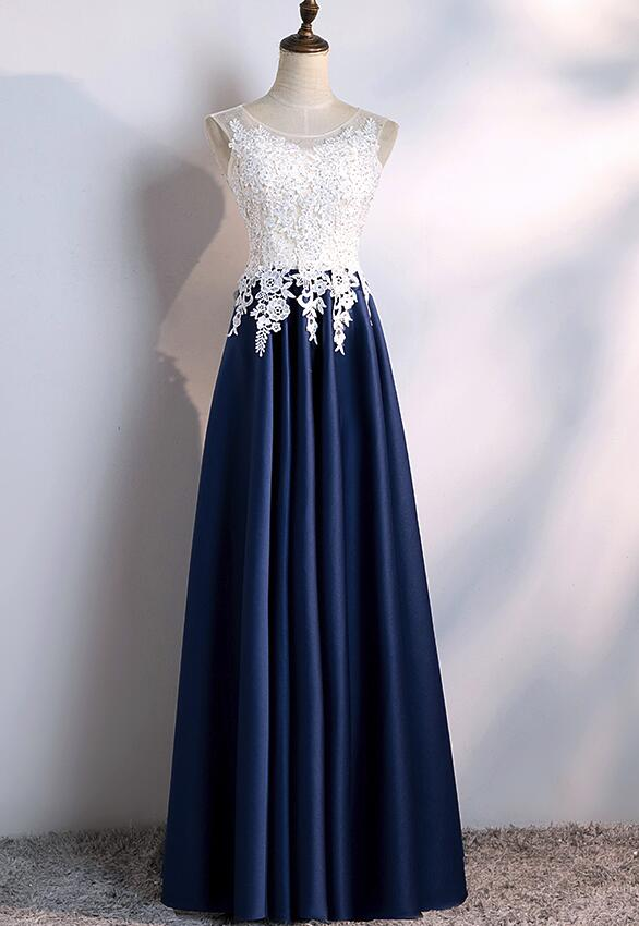 b7b592f6512b Sexy A Line Navy Blue Satin Prom Dress Off the Shoulder Lace Prom Dresses  Fashion Women