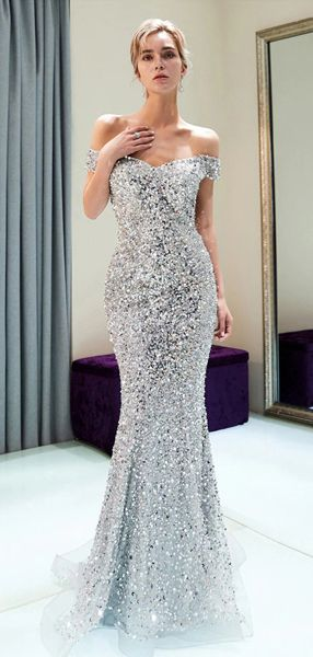 ccb212a8f2a Luxury Silver Beaded Mermaid Prom Dress Strapless Long Prom Party gOWNS  Custom Made Formal Evening Dresses