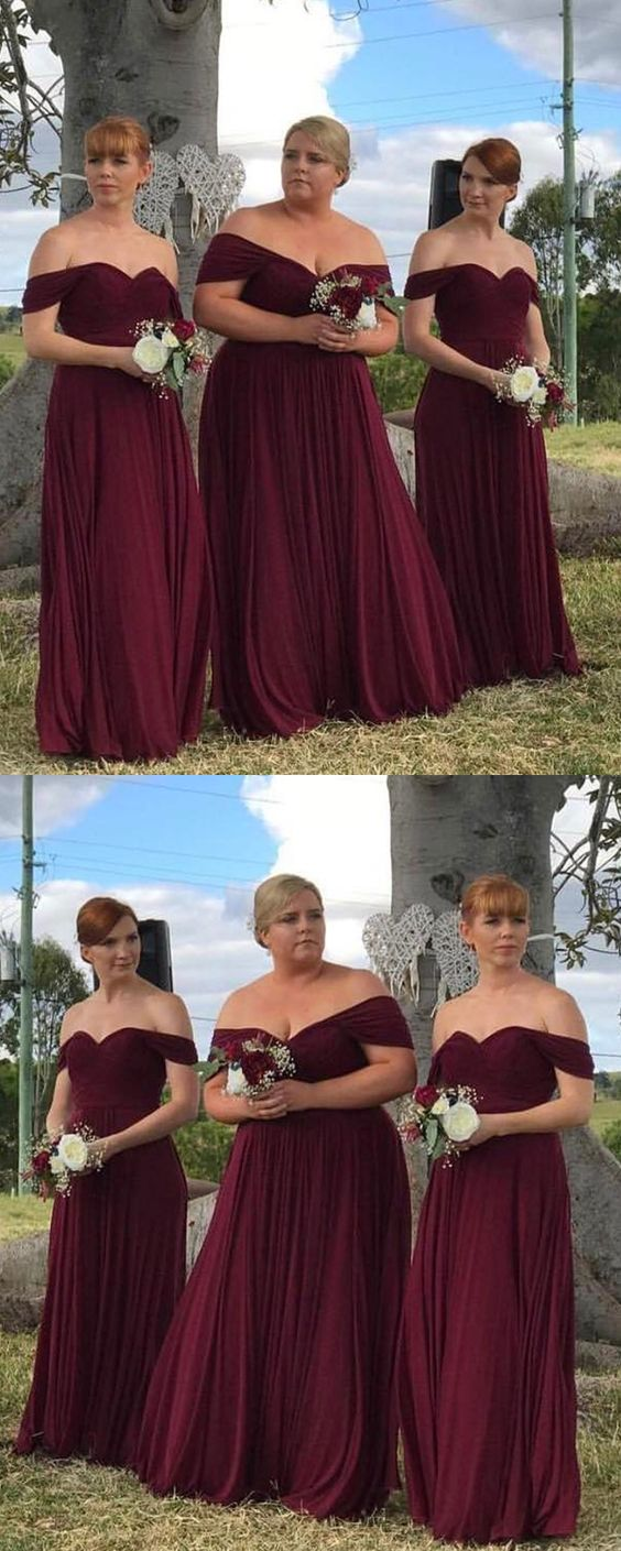 Off Shoulder Burgundy Chiffon Long Bridesmaid Dress, A Line Maid Of Honor  Gowns , Plus Size Bridesmaid Gowns