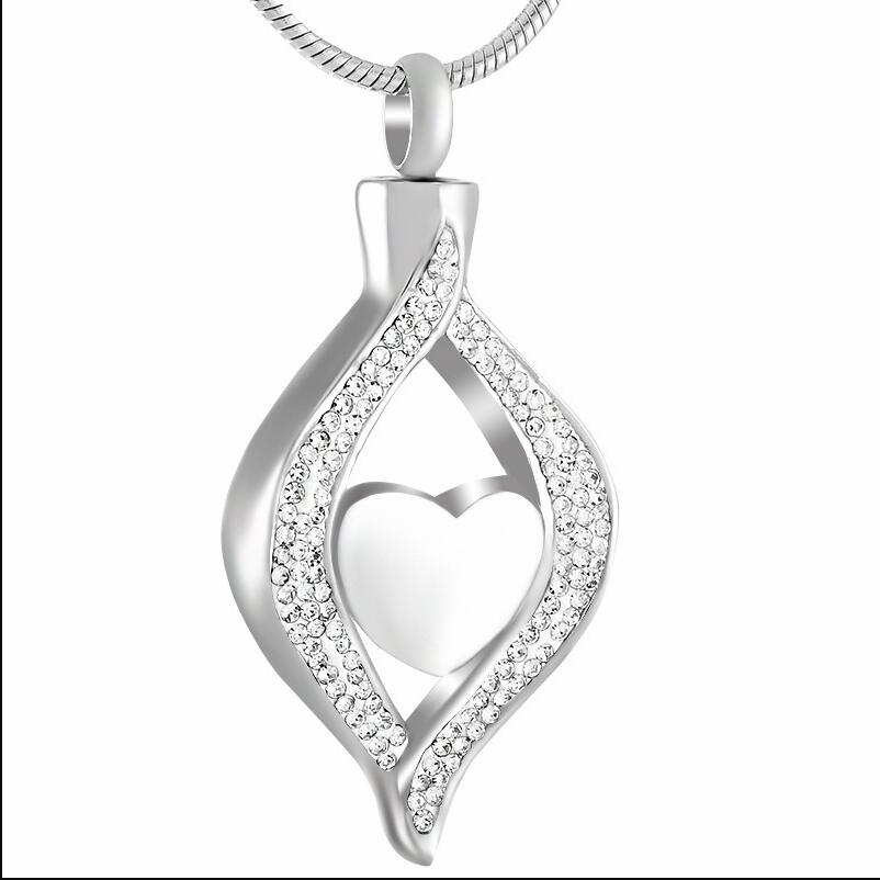 Crystal Teardrop Hold Heart Stainless Steel Cremation Ashes Urn Pendant Necklace Memorial Keepsake