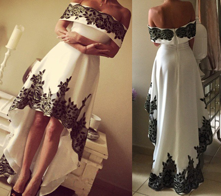 18c25dfc1dd8 White High Low Satin Prom Dress With Black Lace Appliqued 2019 A Line Off  Shoulder Women