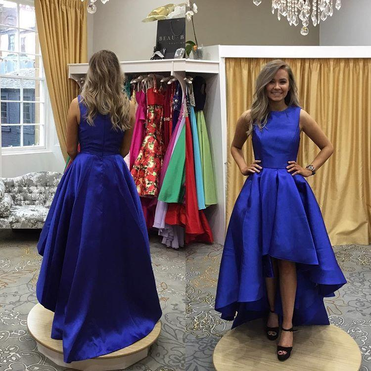 d159f45c29 Royal Blue Satin High Low Prom Dress Scoop Neck Women Prom Party Gowns ,Tea  Length
