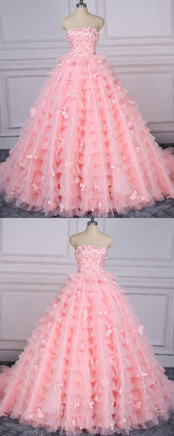 Off the Shoulder Pink Tulle Long Prom Dress Custom Made Skirts Tiers Prom Party Gowns ,a line quinceanera dress, wedding party dress 2019