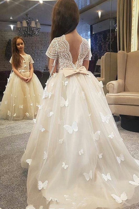 bba991966e2 Hot Ivory Flower Girl Dresses Butterflies Puffy Princess Kids Birthday  Christmas Dress Girls Formal Party Gowns
